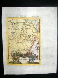 Mallet 1719 Antique Hand Colored Map. Lorraine, France